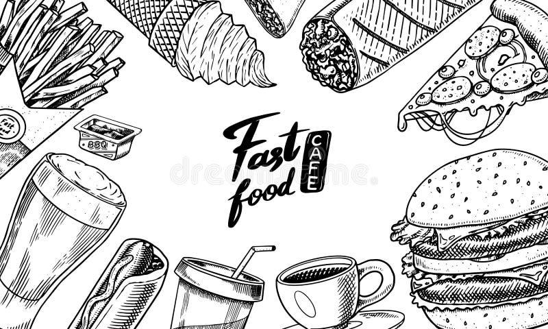 Fondo degli alimenti a rapida preparazione Modello dell'insegna nello stile d'annata Hamburger ed hamburger, taci e hot dog, burr illustrazione di stock