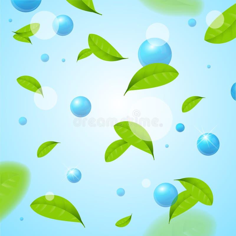 Fondo degli elementi blu realistici della bolla o della sfera e delle foglie verdi della mosca Vettore illustrazione di stock