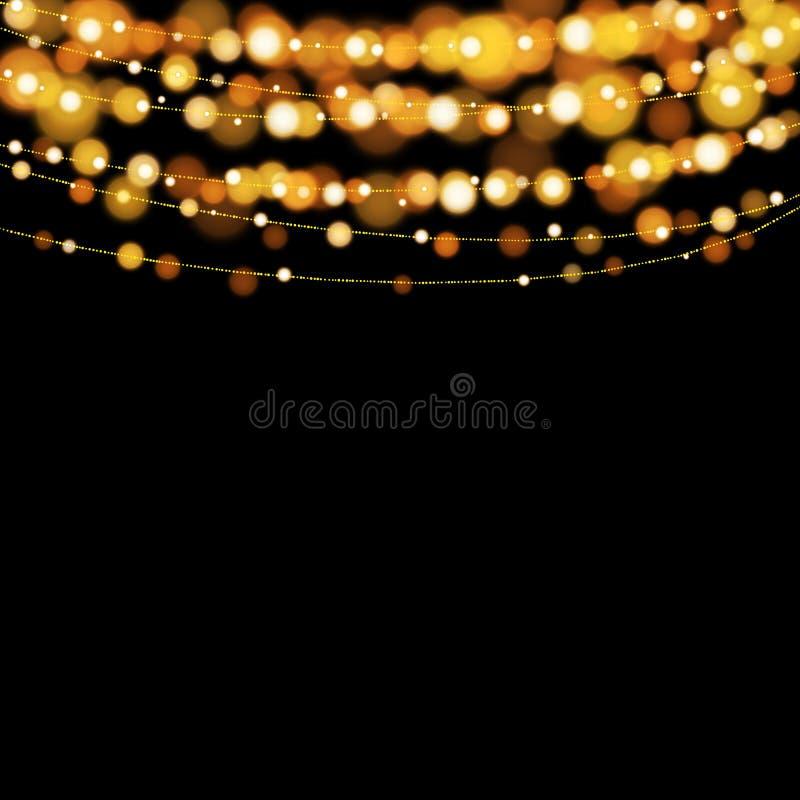 Fondo degli elementi di progettazione delle luci di Natale royalty illustrazione gratis