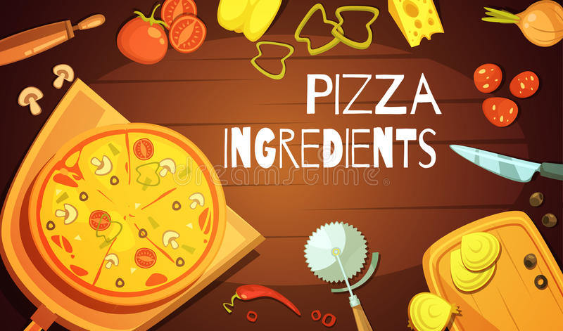 Fondo degli ingredienti della pizza illustrazione di stock