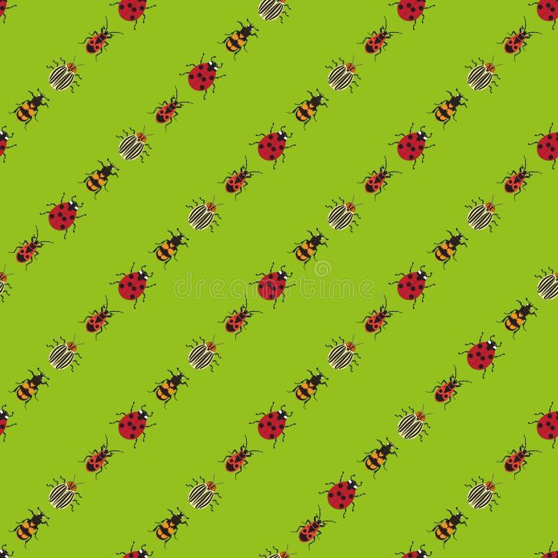 Fondo degli scarabei su fondo verde chiaro illustrazione di stock