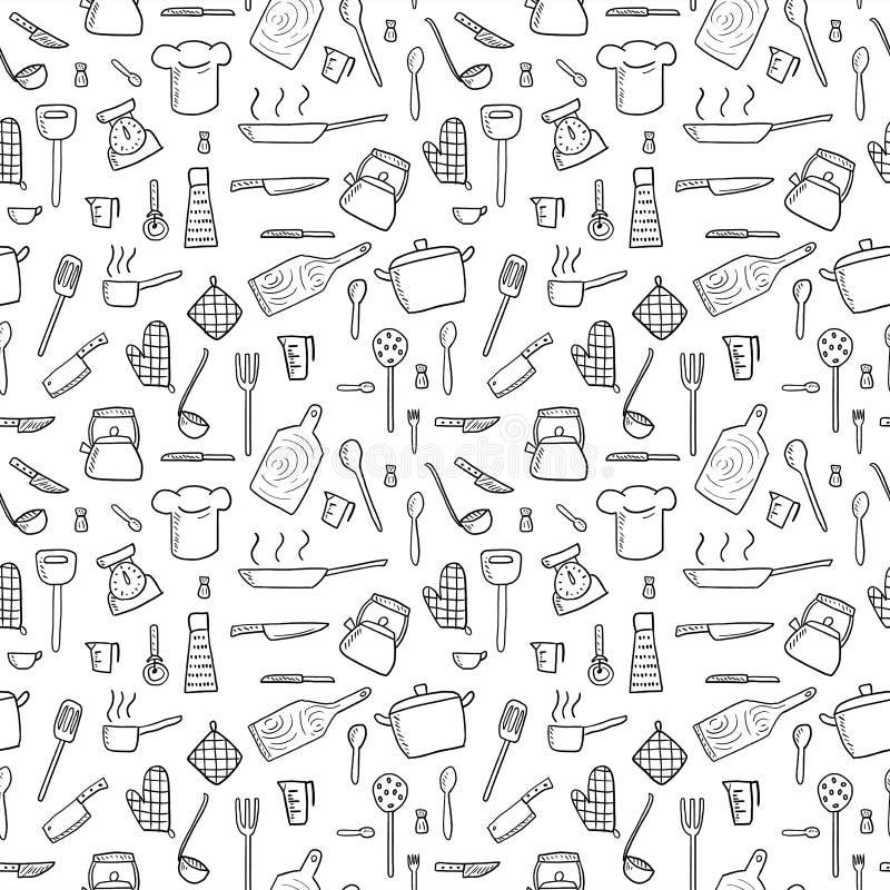 Fondo degli utensili della cucina illustrazione vettoriale