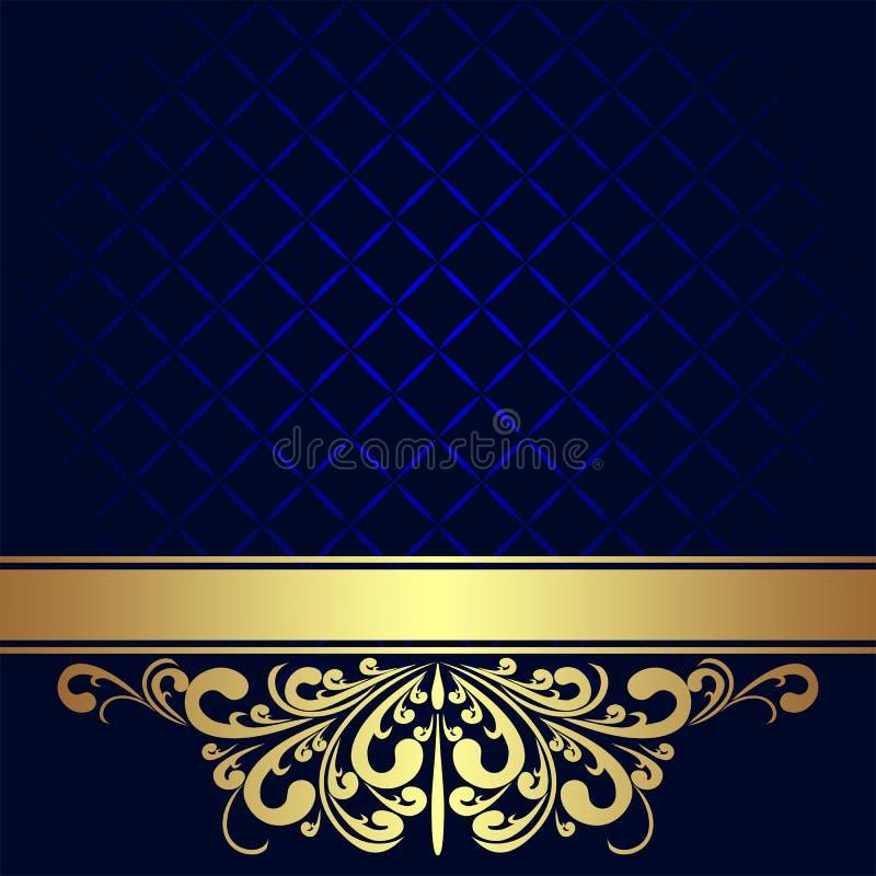 Fondo dei blu navy con il confine reale dorato. illustrazione di stock