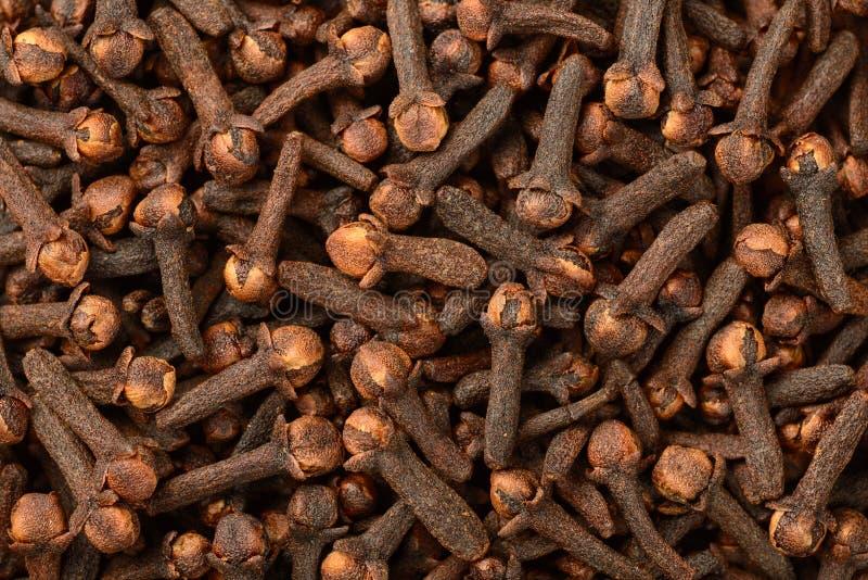 Fondo dei chiodi di garofano secchi, vista superiore dell'alimento immagine stock libera da diritti