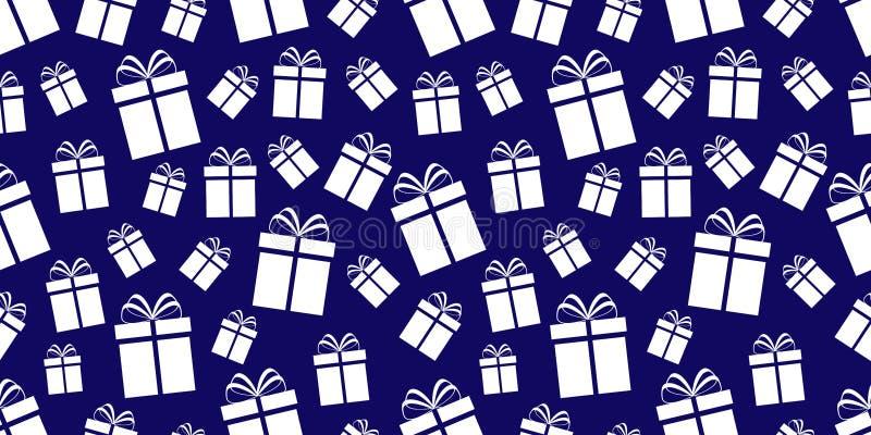 Fondo dei contenitori di regalo Reticolo senza giunte dei presente Stampa di vacanze invernali Icone piane semplici Ripeti la str royalty illustrazione gratis