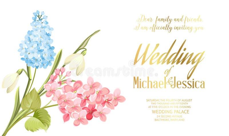 Fondo dei fiori della siringa della primavera per la progettazione della partecipazione di nozze Fiore di fioritura per la carta  illustrazione vettoriale