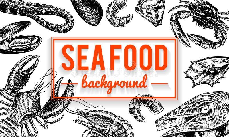 Fondo dei frutti di mare Crostacei, gamberetto, aragosta o gambero, granchio con gli artigli Creature del fiume e del lago o del  illustrazione vettoriale