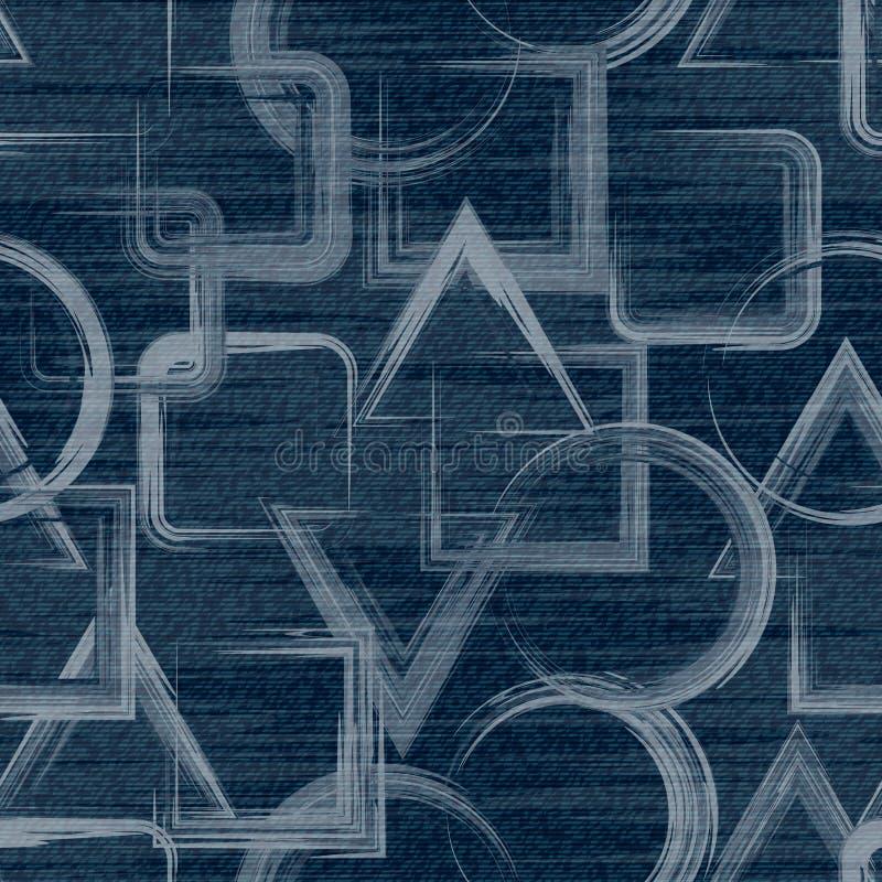 Fondo dei jeans di vettore con i fiori Modello senza cuciture del denim Tessuto delle blue jeans Priorità bassa floreale del grun illustrazione vettoriale