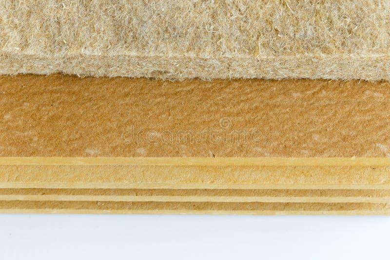 Fondo dei materiali - la fibra d'isolamento termica compressa della canapa ha legato i pannelli immagine stock libera da diritti