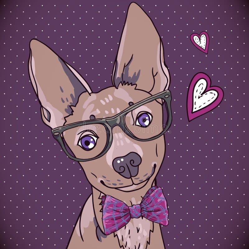 Fondo dei pantaloni a vita bassa con un cane ed i cuori illustrazione vettoriale