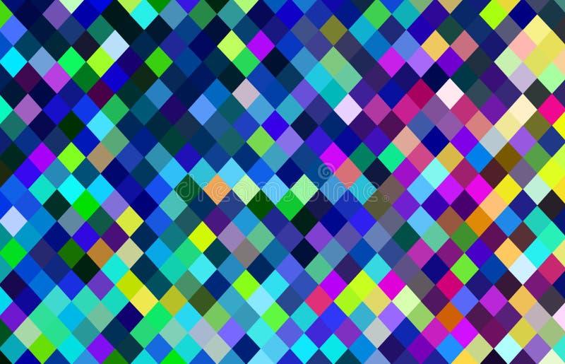 Fondo dei pixel multicolore Modello di mosaico rosa verde blu giallo azzurrato illustrazione vettoriale