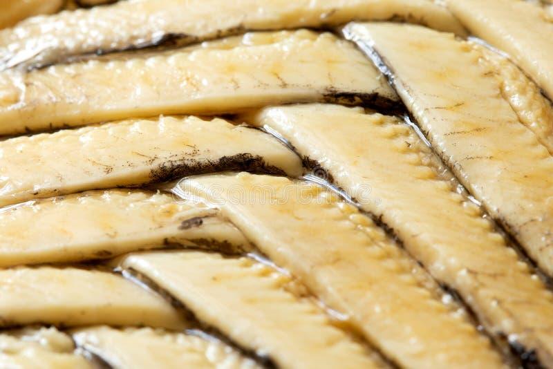Fondo dei raccordi dell'acciuga in olio sistemato nel modello della spina di pesce closeup fotografie stock libere da diritti