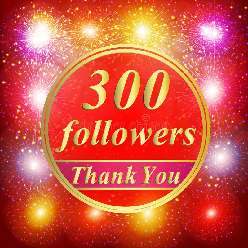 Fondo dei seguaci un'illustrazione di 300 seguaci con vi ringrazia su un nastro fotografia stock