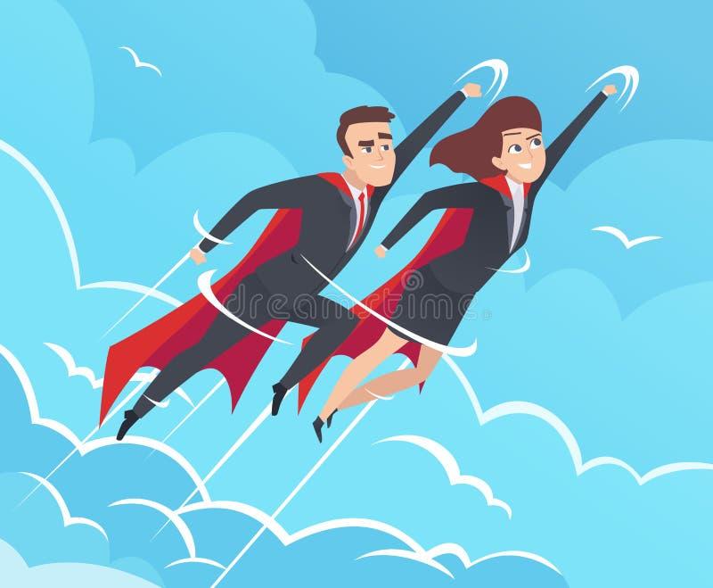 Fondo dei supereroi di affari Il maschio nell'azione posa gli eroi potenti di lavoro di squadra che volano nelle immagini di affa royalty illustrazione gratis