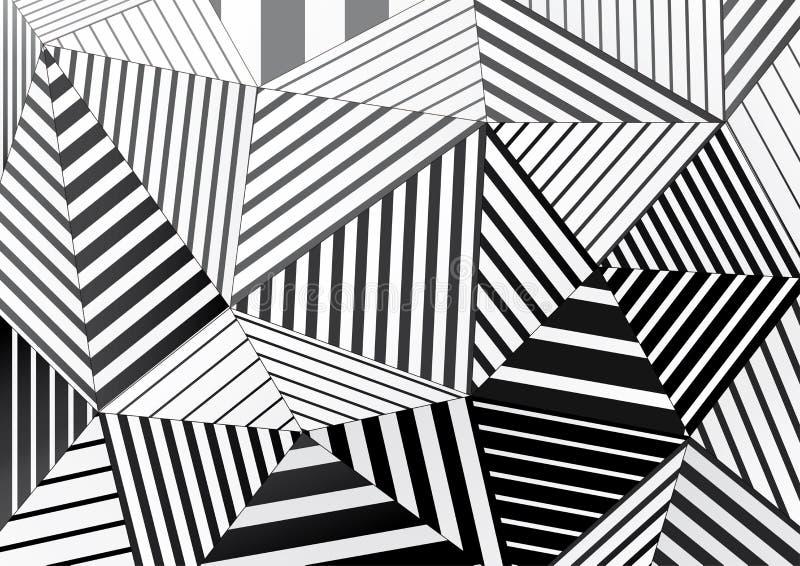 Fondo dei triangoli a strisce in bianco e nero per progettazione grafica illustrazione vettoriale