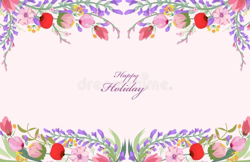 Download Fondo Dei Wildflowers Dell'acquerello Illustrazione Vettoriale - Illustrazione di arte, telaio: 55355918