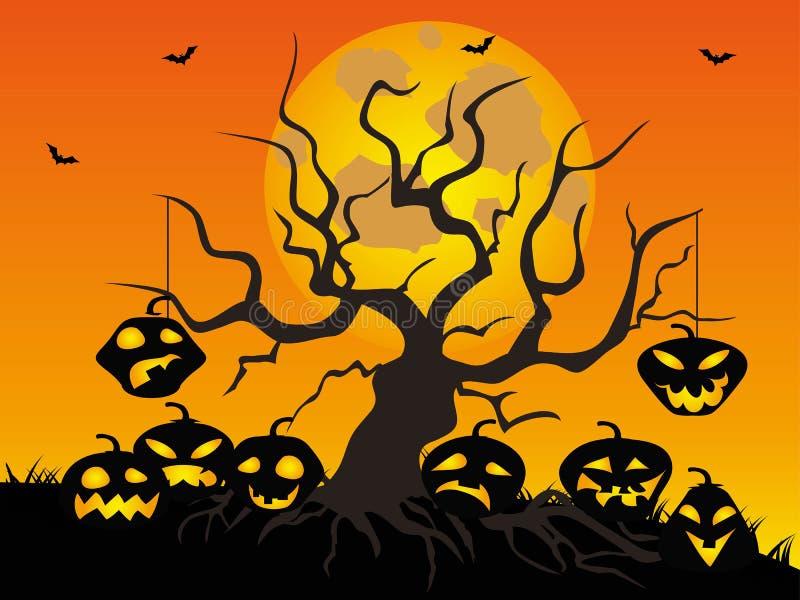 Fondo del árbol de la calabaza de Halloween libre illustration