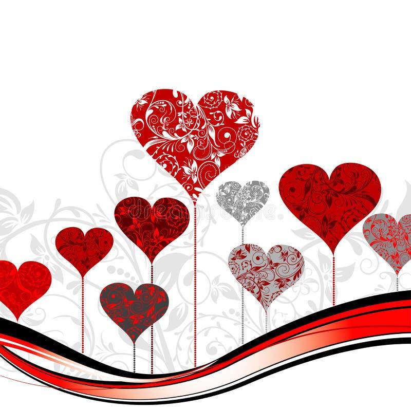Fondo del árbol de las tarjetas del día de San Valentín,   ilustración del vector