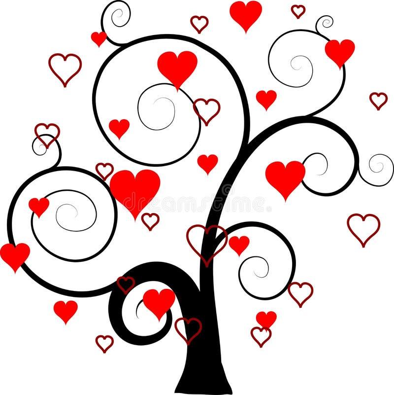 Fondo del árbol de las tarjetas del día de San Valentín,   libre illustration