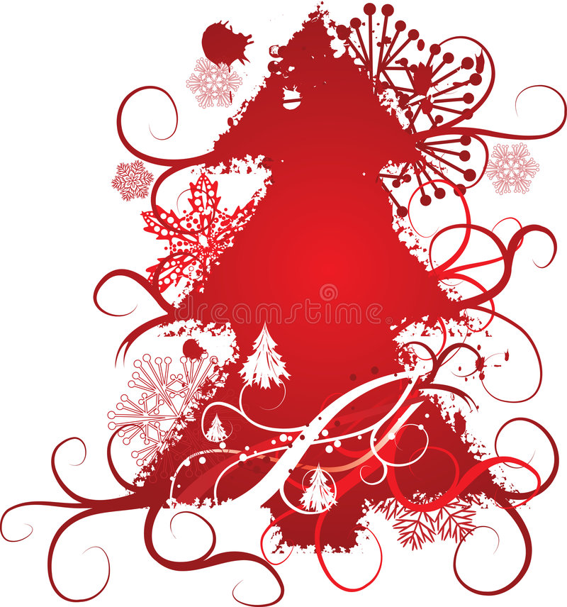 Fondo del árbol de navidad de Grunge, ilustración del vector libre illustration