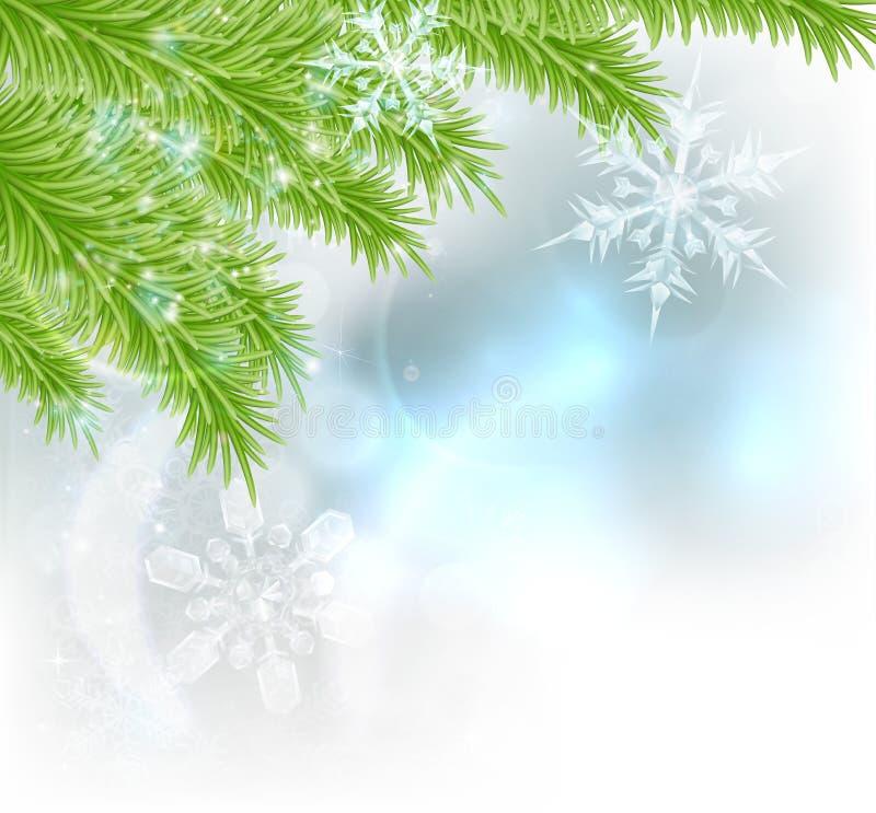 Fondo del árbol de navidad de los copos de nieve libre illustration