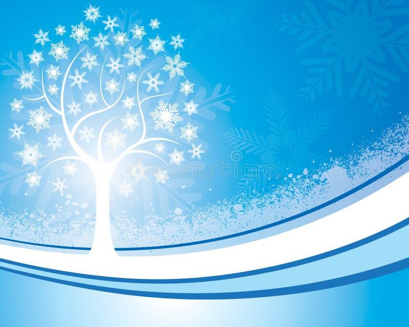 Fondo del árbol del copo de nieve stock de ilustración