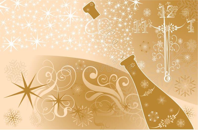 Fondo del Año Nuevo con el reloj y las chispas de un champán foto de archivo