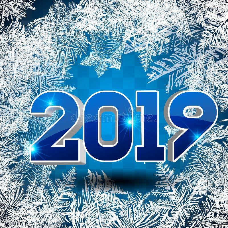 Escarcha Mágica Blanca Azul De La Nieve Stock de ilustración