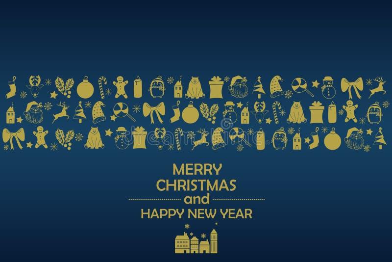 Fondo 2019 del Año Nuevo con las figuras del oro, juguetes de la Navidad, caramelo, Papá Noel, vela en fondo azul Composición 201 ilustración del vector