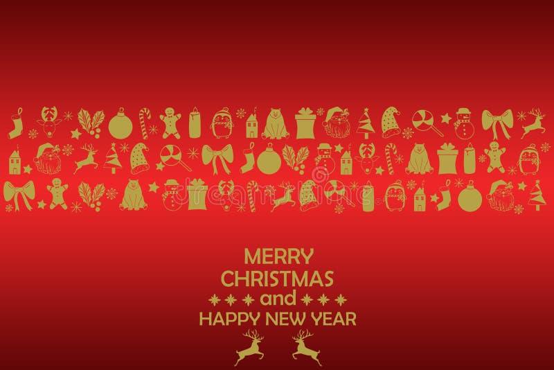 Fondo 2019 del Año Nuevo con las figuras del oro, juguetes de la Navidad, caramelo, Papá Noel, vela en fondo rojo Composición 201 libre illustration