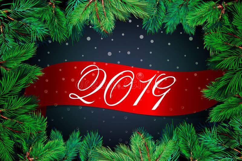 Fondo del Año Nuevo 2019 con las ramas del abeto y la bola brillante de plata de la Navidad Tarjeta de felicitación de la Navidad stock de ilustración