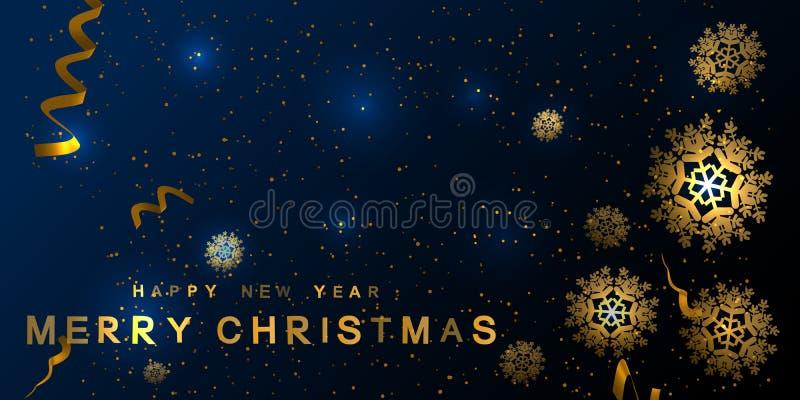 Fondo del Año Nuevo con los copos de nieve de oro Ilustración del vector libre illustration