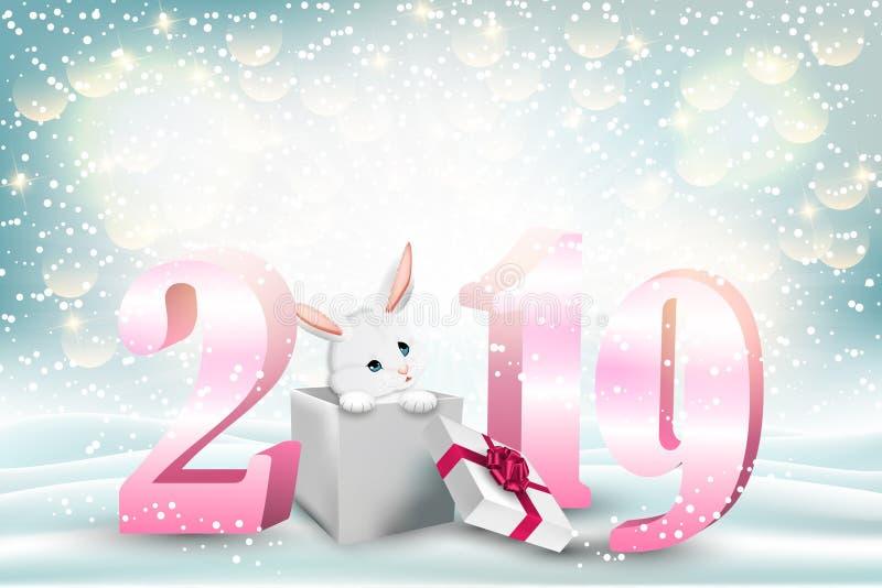 Fondo del Año Nuevo con 2019 números y el conejito lindo stock de ilustración
