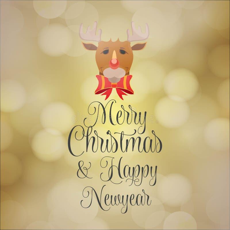 Fondo del Año Nuevo de la Feliz Navidad y de Hapy stock de ilustración