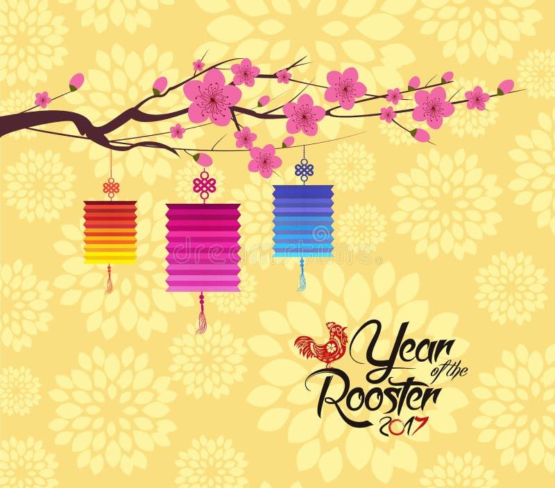 Fondo del Año Nuevo de la linterna china 2017 y del flor stock de ilustración