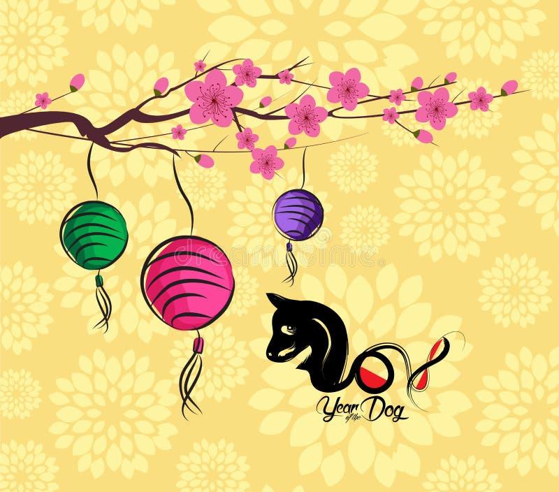 Fondo del Año Nuevo de la linterna china 2018 y del flor Año del perro stock de ilustración