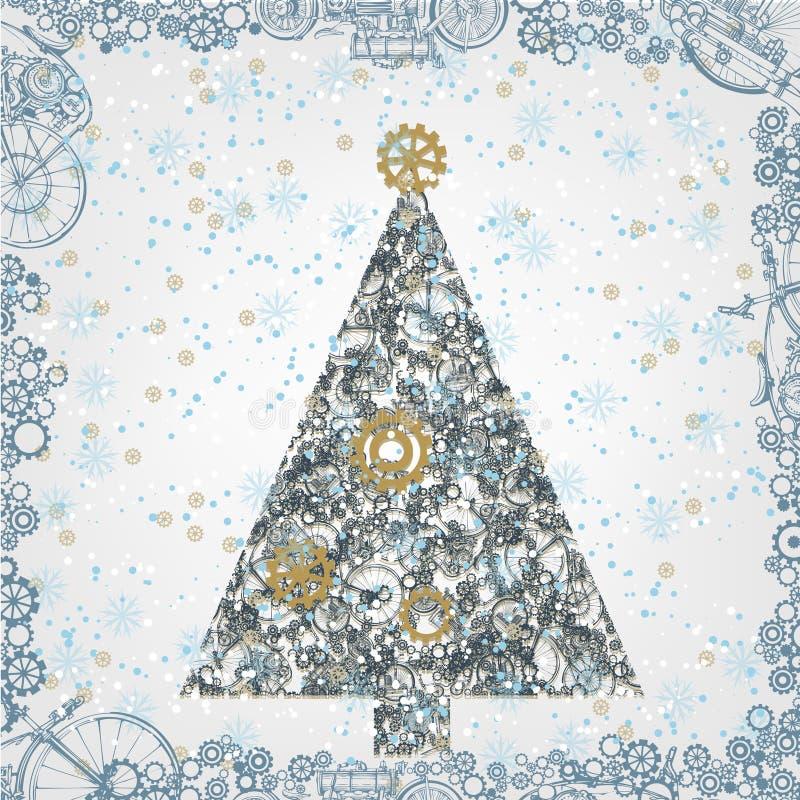 Fondo del Año Nuevo en el estilo de Steampunk - árbol de navidad y nieve stock de ilustración