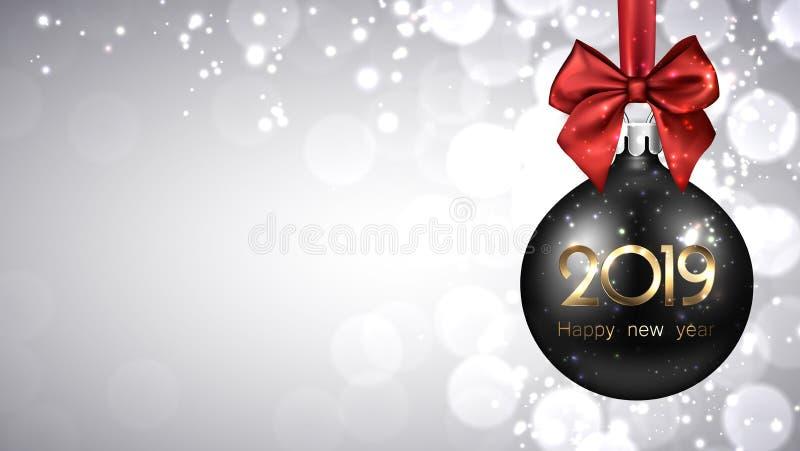 Fondo del Año Nuevo del gris 2019 con la bola negra de la Navidad ilustración del vector