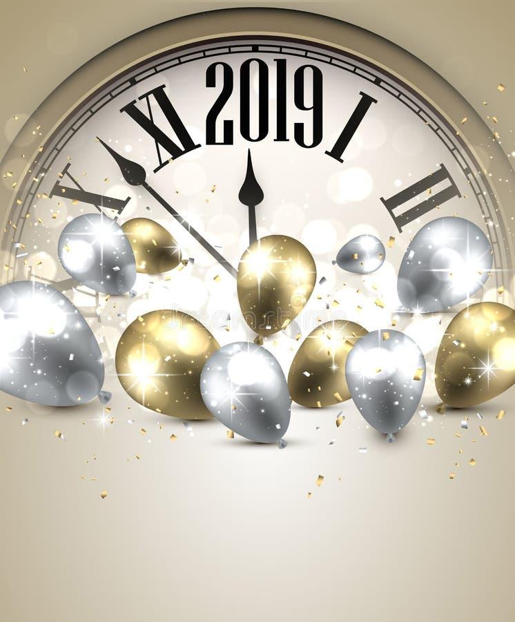 Fondo del Año Nuevo del oro 2019 con el reloj Tarjeta de felicitación libre illustration