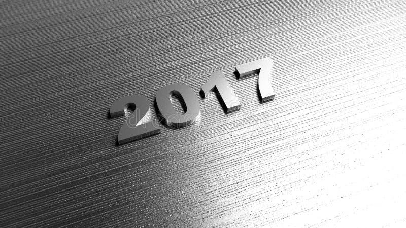 Fondo del Año Nuevo 2017 Textura del metal representación 3d stock de ilustración