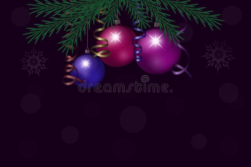Fondo del Año Nuevo y de la Navidad con las bolas de la Navidad Vector libre illustration