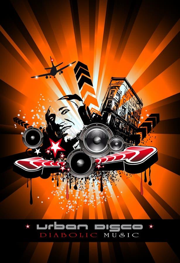 Fondo del acontecimiento de la música con DJ loco ilustración del vector