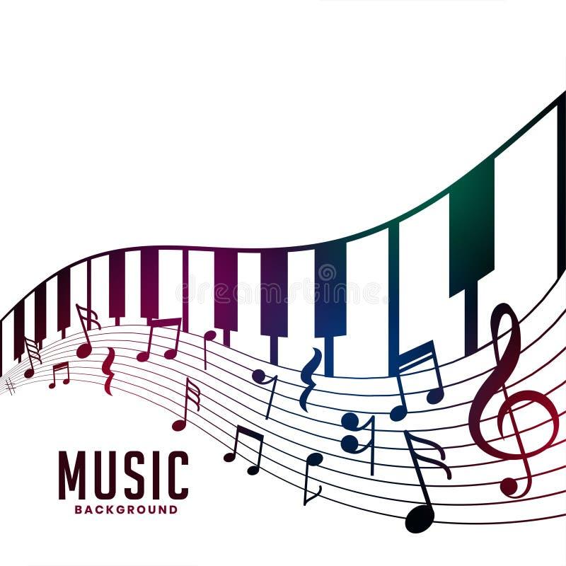 Fondo del acorde del piano y de las notas musicales libre illustration