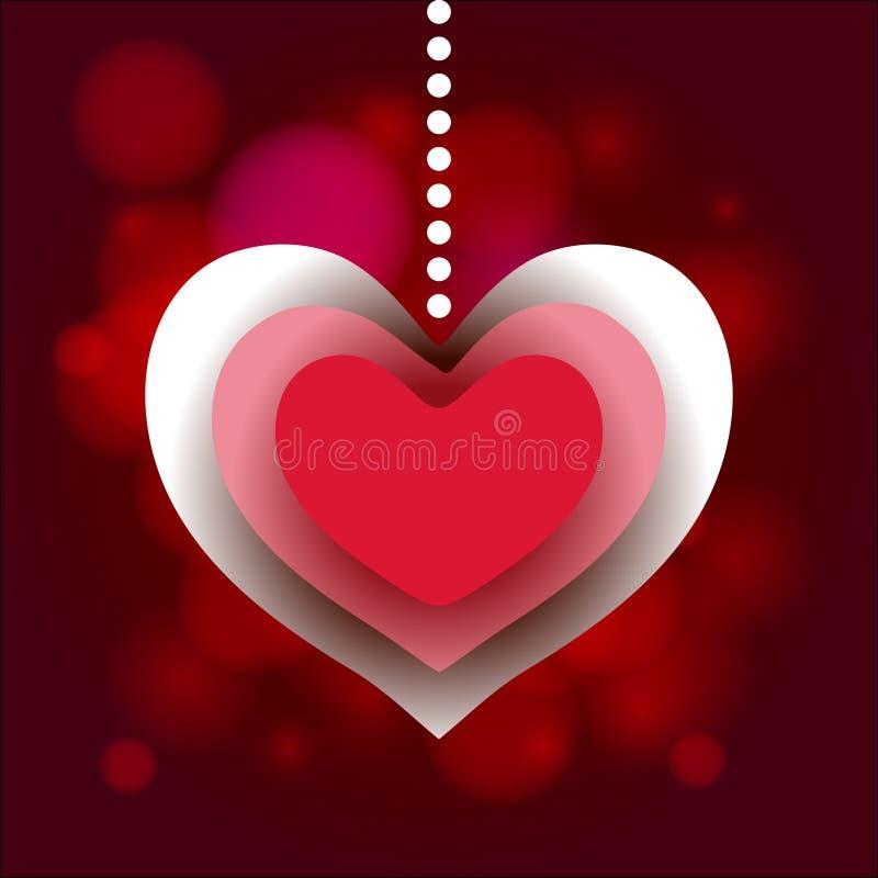 Fondo del amor de la etiqueta del corazón de Valentine Day ilustración del vector