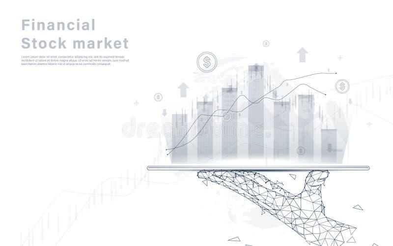 Fondo del análisis del gráfico del mercado de bolsa de acción Tableta de la tenencia de la mano en mapa del mundo ilustración del vector
