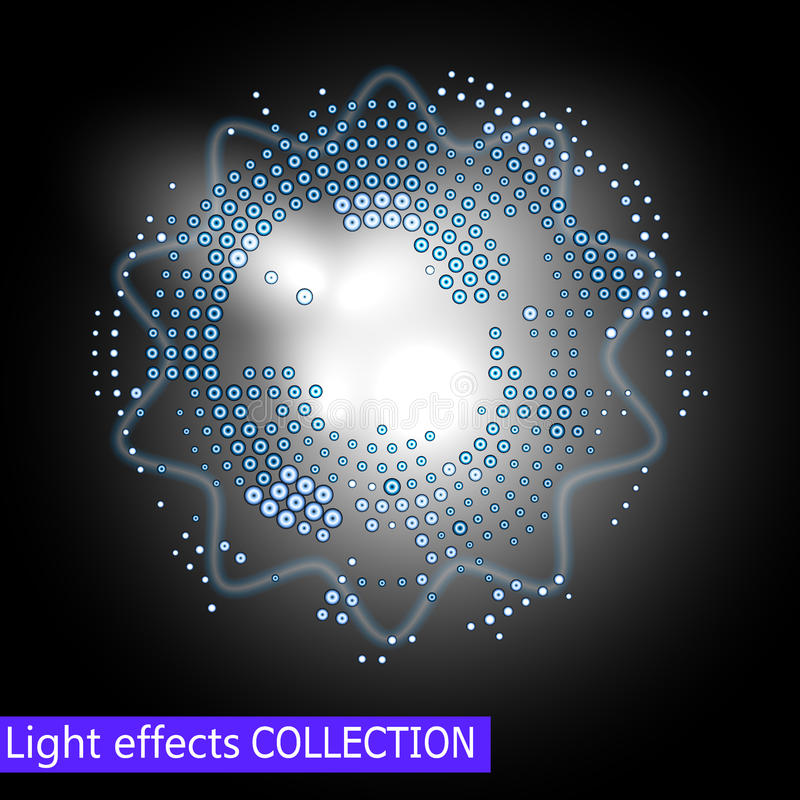Fondo del anillo del vector Marco redondo del brillo azul con efecto luminoso de la chispa libre illustration