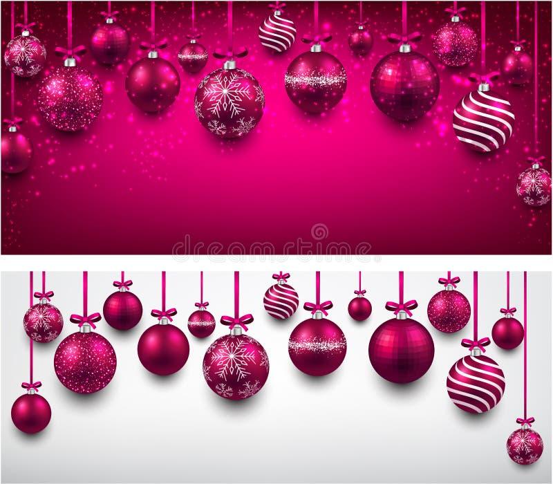 Fondo del arco con las bolas magentas de la Navidad stock de ilustración
