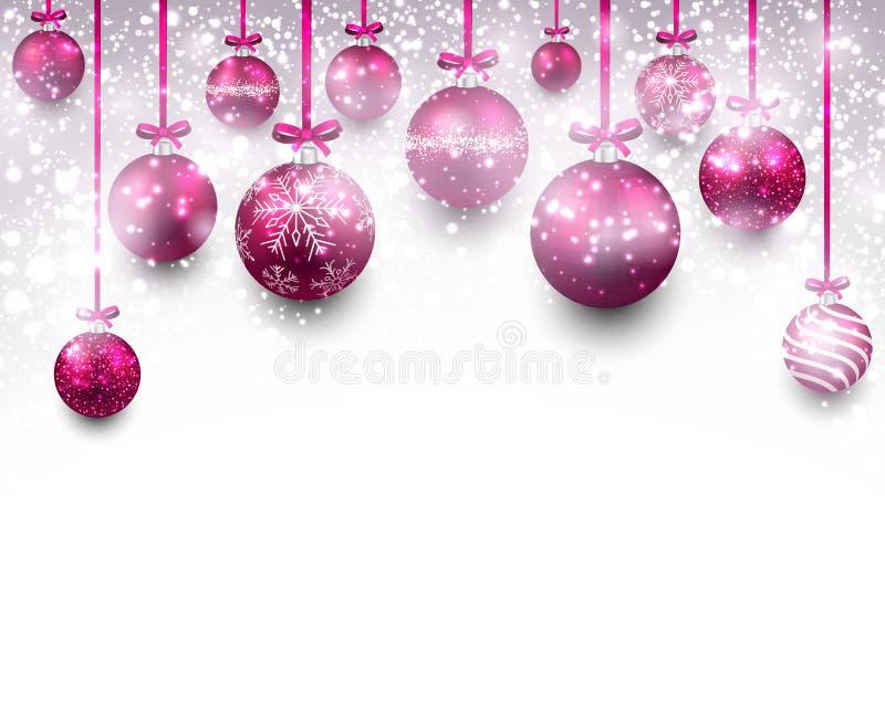 Fondo del arco con las bolas magentas de la Navidad ilustración del vector