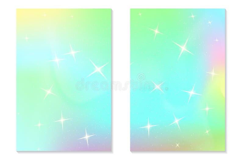 Fondo del arco iris del unicornio Cielo olográfico en color en colores pastel Modelo brillante de la sirena del holograma en colo libre illustration