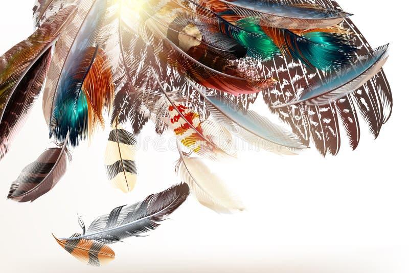 Fondo del arte con símbolo de las plumas del mundo colorido stock de ilustración